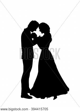 Silhouettes Happy Parents Father And Mother Holding Newborn Baby. Illustration Graphics Icon Vector