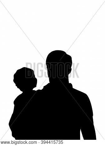 Silhouette Of Happy Father With His Son Closeup. Illustration Graphics Icon Vector