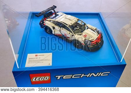 Porsche 911 Made Entirely From Lego Bricks, Close - Up - Russia, Moscow, 08 02 2019