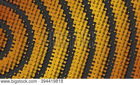 Abstract Layered Background With Perforated Gradient Gold Rings In Papercut Style. Flowing Shapes In