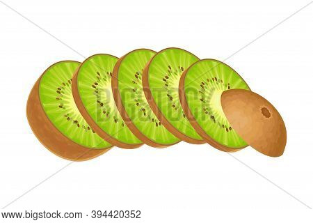 Sliced Kiwifruit Or Kiwi As Edible Berry With Fibrous Brown Skin And Green Flesh Vector Illustration
