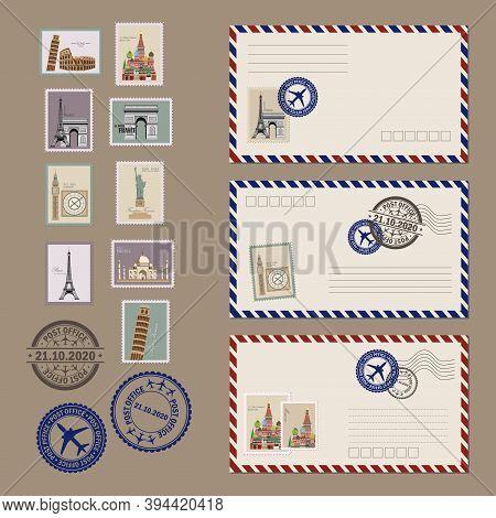 Post Card And Envelope Set. Vintage Postcard Designs, Envelopes And Stamps. Realistic Old Postcard.