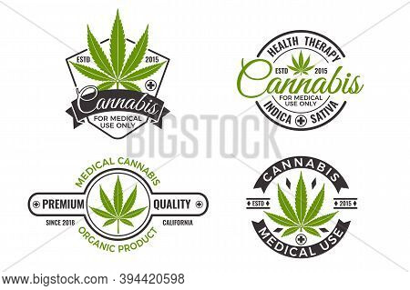 Medical Marijuana Product Labels With Organic Hemp Leaves. Cannabis Logo Design Template For Emblem,