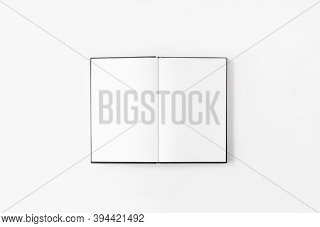 Notebook Mockup. Opened Notebook Flat Lay On White Background Top View, Copy Space. Empty Template F