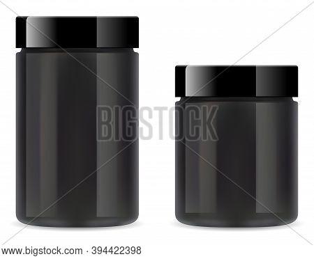 Supplement Jar. Black Plastic Protein Bottleon White Background. Whey Powder Tube 3d Vector Blank. G