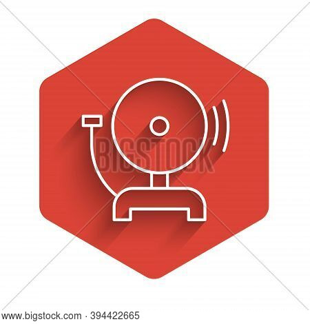 White Line Ringing Alarm Bell Icon Isolated With Long Shadow. Fire Alarm System. Service Bell, Handb