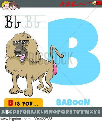 Educational Cartoon Illustration Of Letter B From Alphabet With Baboon Animal For Children