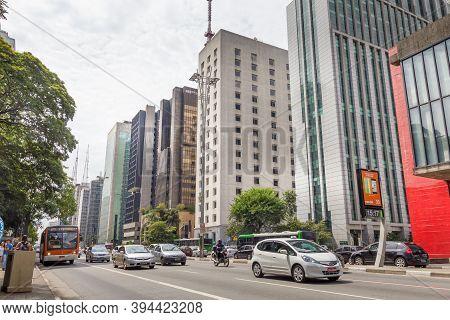 Sao Paulo, Brazil- 20 February, 2014: Cars Circulating In The Paulista Avenue. The Street Is The Big