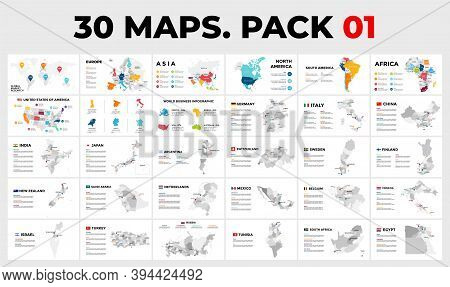 30 Map Infographic Templates In 1 Pack. Vector Countries With Provinces. Includes All World - Europe