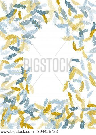 Gentle Silver Gold Feathers Vector Background. Decorative Confetti Of Festive Plumelet. Detailed Maj