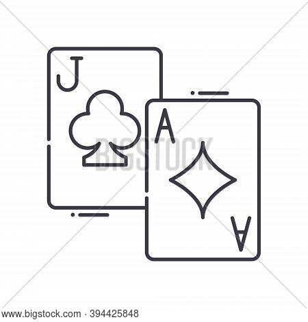 Blackjack Icon, Linear Isolated Illustration, Thin Line Vector, Web Design Sign, Outline Concept Sym