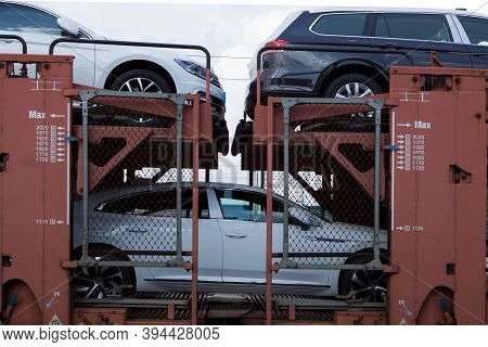 Poznan, Poland - May 17, 2019: New Cars Transported With Railway Platforms. Cars Transported By Trai