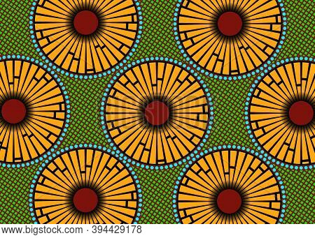 African Wax Print Fabric, Ethnic Handmade Ornament For Your Design, Afro Ethnic Flowers And Tribal M