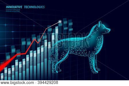 Veterinary Clinic Dog Pet Surgery Analytics Graph. Low Poly Polygonal 3d Dog Silhouette Laser Doctor