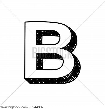 B Letter Hand-drawn Symbol. Vector Illustration Of A Big English Letter B. Hand-drawn Black And Whit