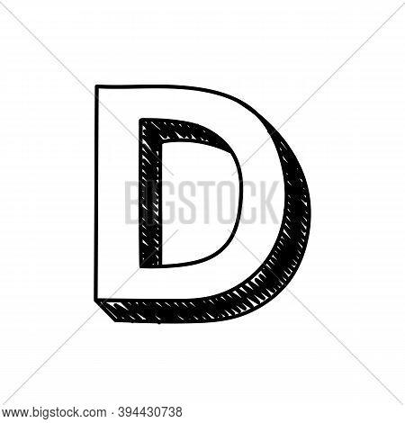 D Letter Hand-drawn Symbol. Vector Illustration Of A Big English Letter D. Hand-drawn Black And Whit