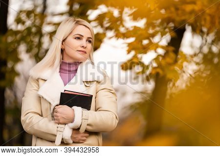 Women In Outdoors Reading Bible. Concept For Faith, Spirituality And Religion. Peace, Hope