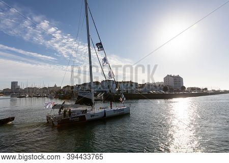 Les Sables D'olonne, France - November 08, 2020: Giancarlo Pedote Boat (prysmian Group) In The Chann