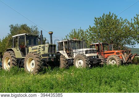 September 2020, Calestano Province Of Parma, Italy. Three Tractors. Same Galaxy 170. Hurlimann H 617
