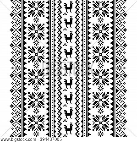 Ukrainian, Belarusian Folk Art Vector Seamless Pattern In Black And White, Inspired By Traditional C