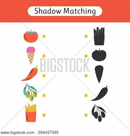 Shadow Matching Game For Kids. Find The Correct Shadow. Kids Activity For Preschool Age. Worksheet W