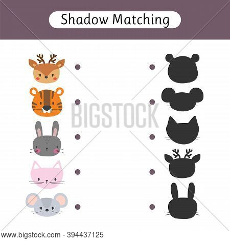 Shadow Matching Game For Kids. Find The Correct Shadow. Worksheet With Animals. Kids Activity For Pr