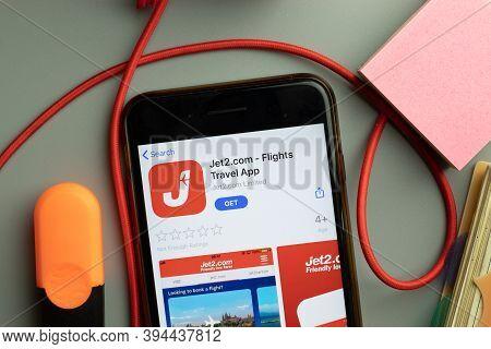 New York, United States - 7 November 2020: Jet2.com Jet2 Flights Travel App App Store Logo On Phone