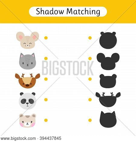 Shadow Matching Game For Kids. Worksheets With Animals. Find The Correct Shadow. Kids Activity For P