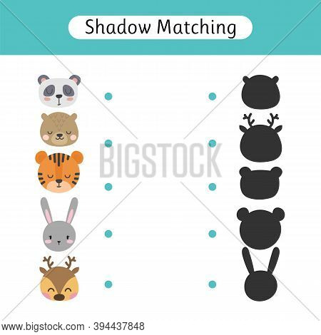 Shadow Matching Game For Kids. Worksheets With Cute Animals. Find The Correct Shadow. Kids Activity