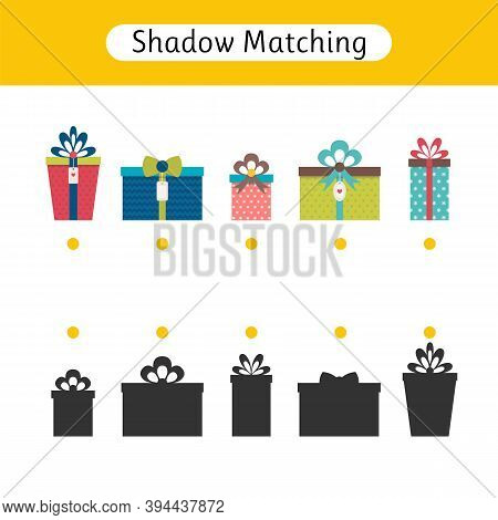 Shadow Matching Game For Kids. Worksheets With Gifts. Christmas. Find The Correct Shadow. Kids Activ