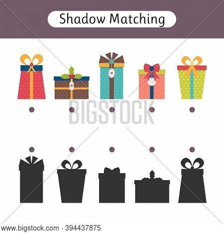 Shadow Matching Game For Kids. Worksheets With Gifts. Find The Correct Shadow. Christmas. Kids Activ