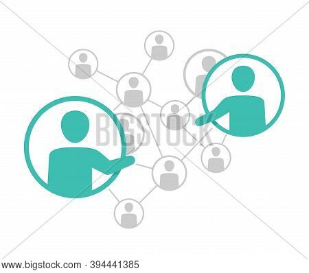 Network Management Scheme - Vector Illustration Of People Community Which Contains People Icons Or A