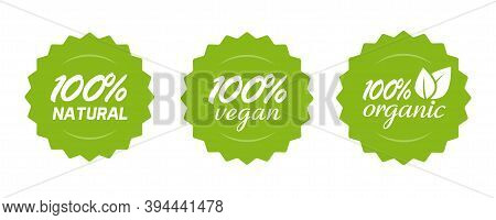 Organic Natural And Vegan Food Or Nutrition Icon Label Vector, 100 Percent Healthy Meal, Modern Gree