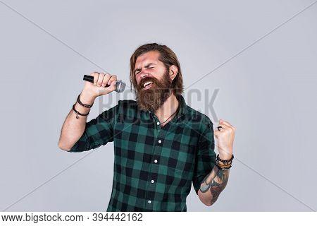 So Emotional. Bearded Man. Concept Of Music. He Is Rock Star. Brutal Stylish Singer. Singing In Kara
