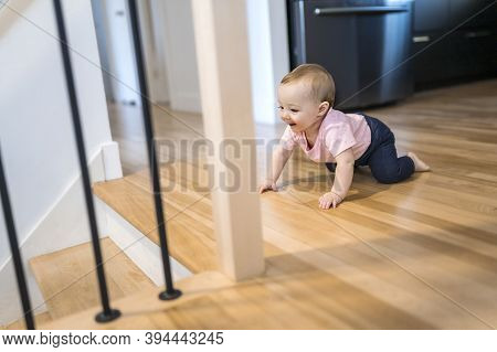 Lonely Baby Girl In Danger Close To The Stair