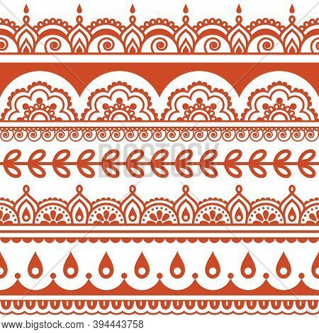 Indian Vector Seamless Pattern, Design Elements - Mehndi Henna Tattoo Style Decoration In Brown On W