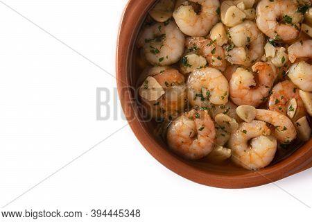 Garlic Prawns In Crock Pot Isolated On White Background