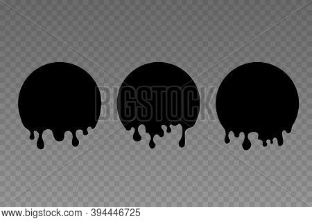 Melt Drip Stickers Or Circle Labels. Vector Liquid Drops Icons For Graffiti Blob Stickers. Round Bad