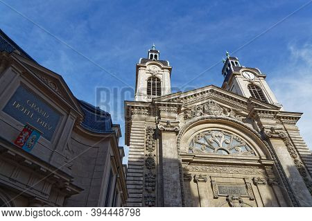 Lyon, France, June 23, 2018 : Ancient Hotel-dieu Church, An Hospital Now A Commercial And Business C
