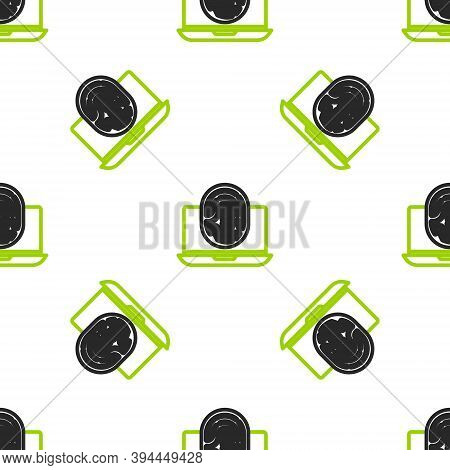 Line Laptop With Fingerprint Icon Isolated Seamless Pattern On White Background. Id App Icon. Identi
