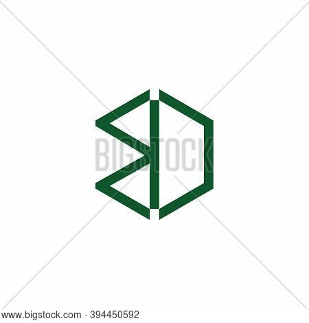 Abstract Letter Bd Geometric Hexagonal Line Design Logo Vector