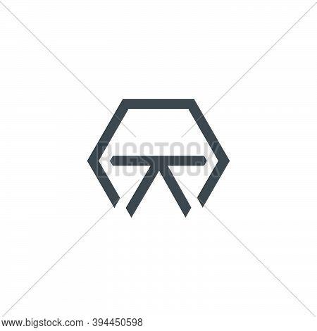 Abstract Letter Nt Geometric Hexagon Line Design Logo Vector