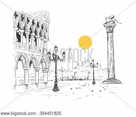 Saint Mark's Square, Doge's Palace In Venice, Italy. San Giorgio Maggiore. Colonne Di San Marco. Han
