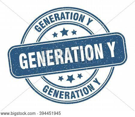Generation Y Stamp. Generation Y Label. Round Grunge Sign