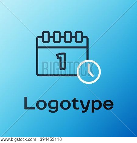 Line Calendar With First September Date Icon Isolated On Blue Background. September 1. Date And Time