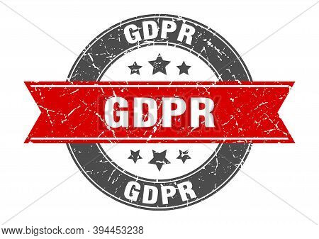 Gdpr Round Stamp With Ribbon. Label Sign