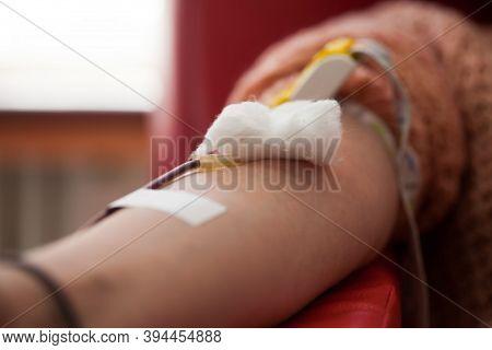 Closeup Female Caucasian Donor Hand Donate Prp Blood Plasma,covid-19 Corona Virus Disease Crisis,nee