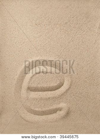 Letter e from sand
