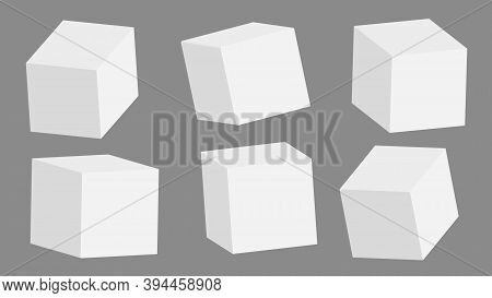 White 3d Cubes, Boxes With Perspective Are On Grey Background. Vector Illustration