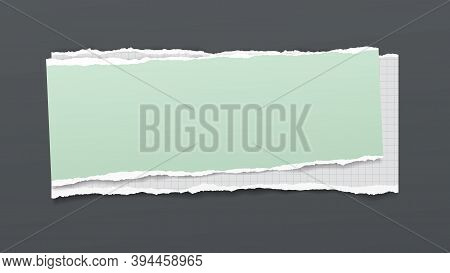 Torn Of White Math And Green Note, Notebook Paper Are On Dark Grey Background For Text, Advertising